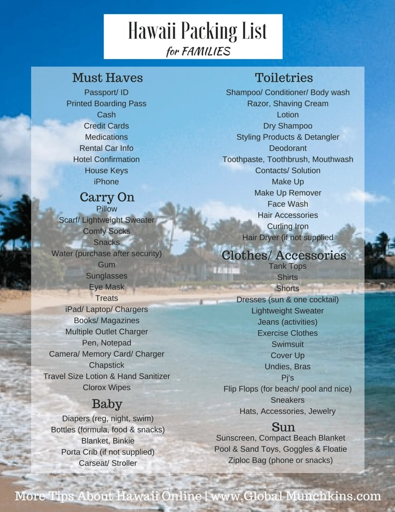 What to Pack for a Trip to Hawaii with free printable list – Packing List