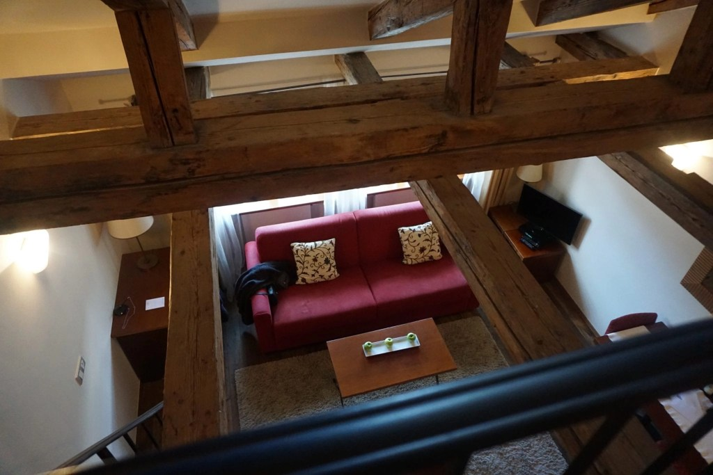 View from upstairs The Nicholas Hotel Residence in Prague. A review by Global Munchkins