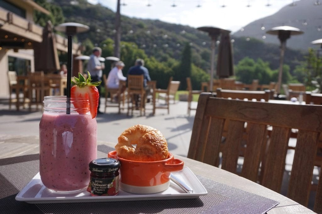 Healthy Breakfast with a view overlooking the golf course at the newly renovated The Ranch at Laguna Beach