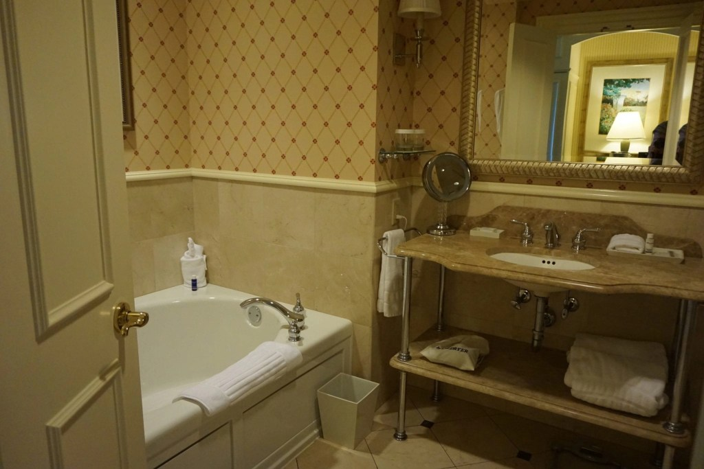 Picture of the hotel room bathroom at The Ballantyne Hotel in North Carolina