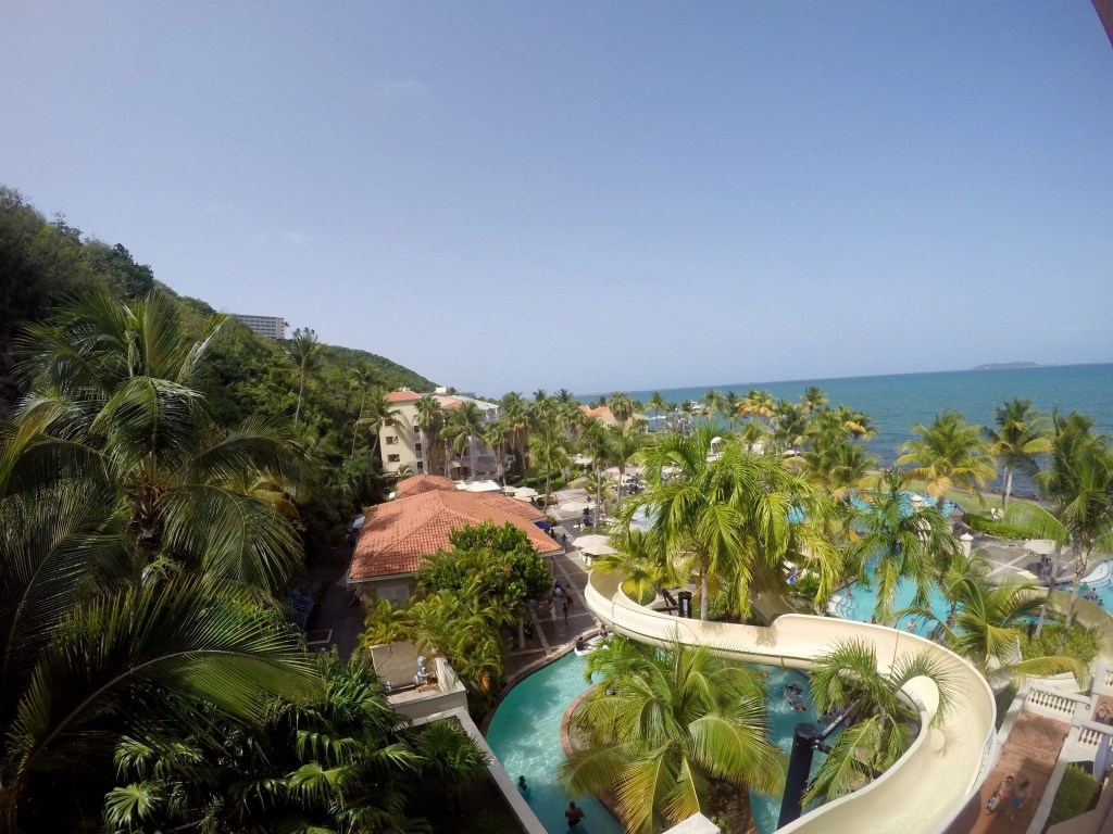 View from the top of the water slide at Coqui Water Park in Puerto Rico