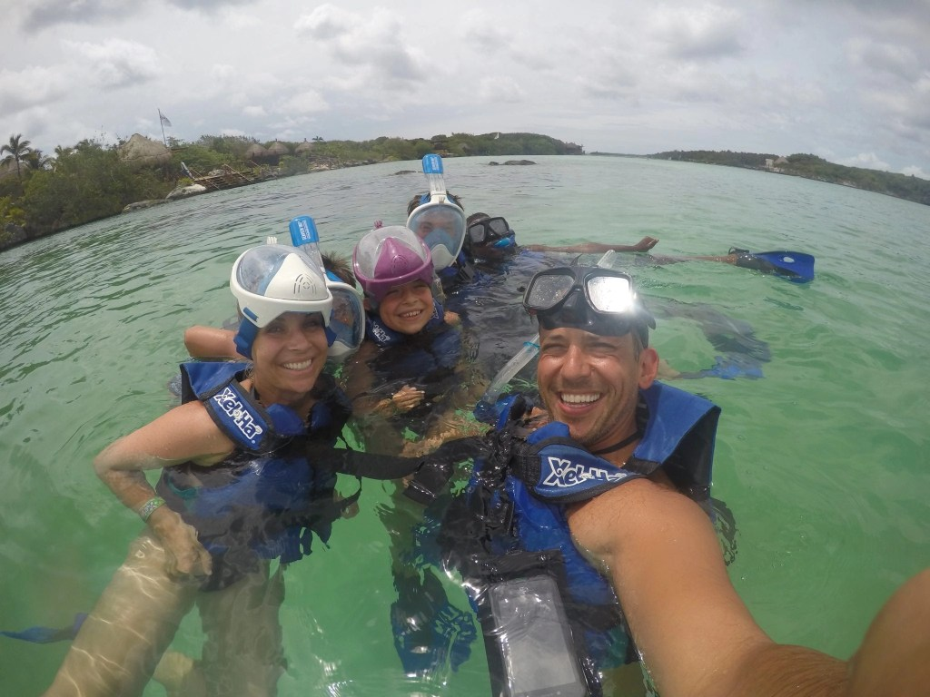 Snorkeling at Xel-Ha eco-park in Cancun Mexico