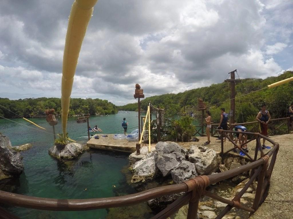 Zipline at Xel-Ha Eco-Park in Mexico