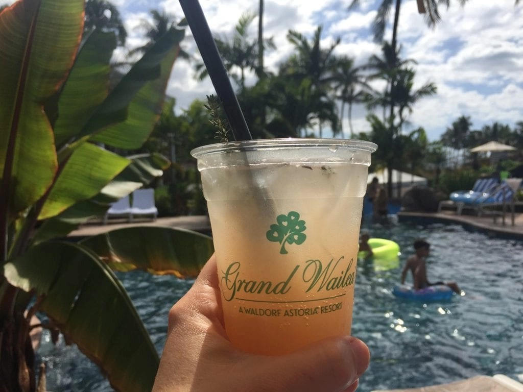 Cocktails by the pool at Grand Wailea