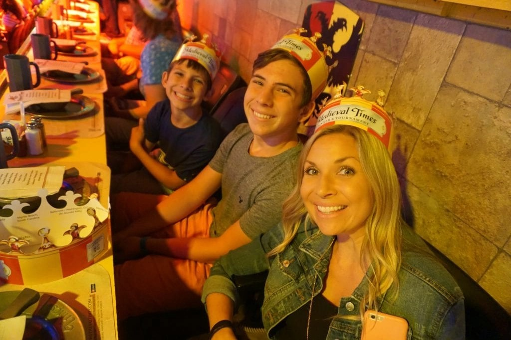 Family enjoying dinner at Medieval Times in Buena Park CA | Global Munchkins