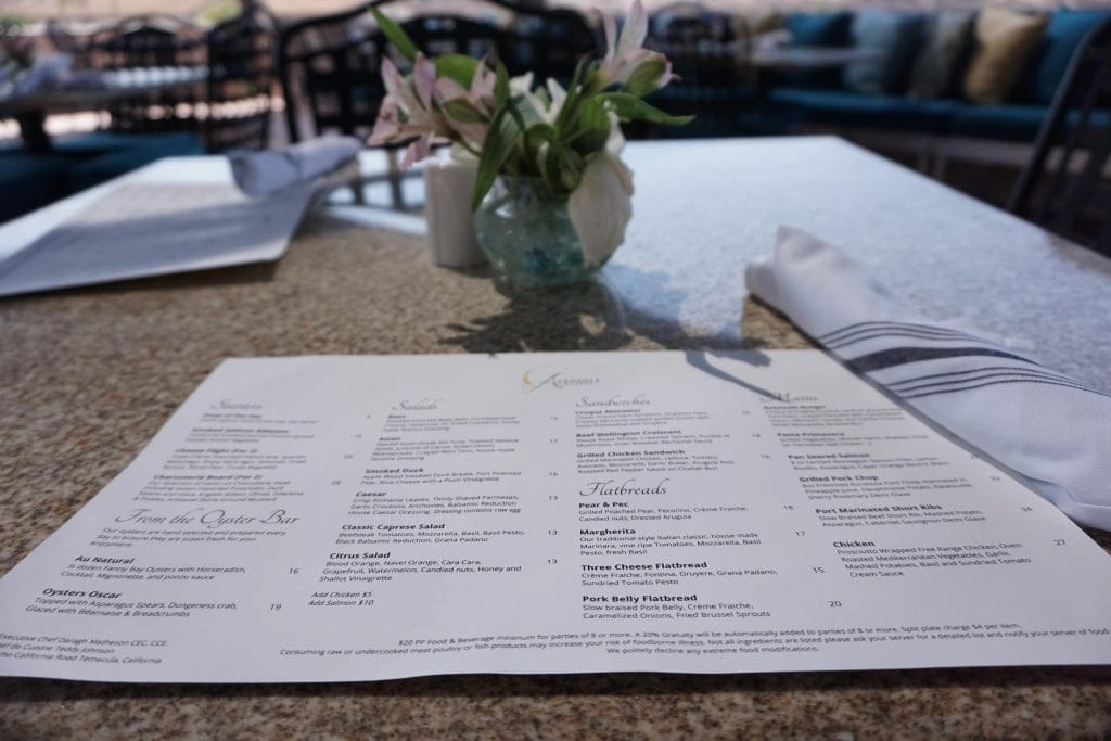 Restaurant menu at Avensole Winery complete with Koi filled pond. One of the newest Temecula Wineries | Global Munchkins