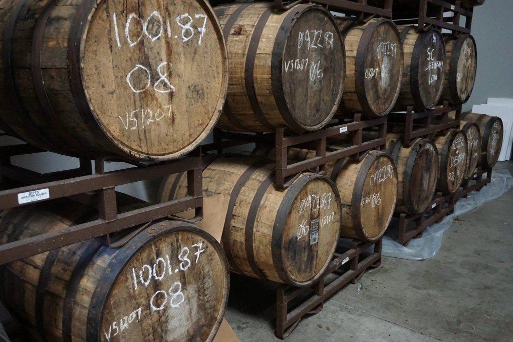 Beer aged in Whiskey Barrels at Black Market Brewing Co. in Temecula. Perfect date night spot in Temecula | Global Munchkins