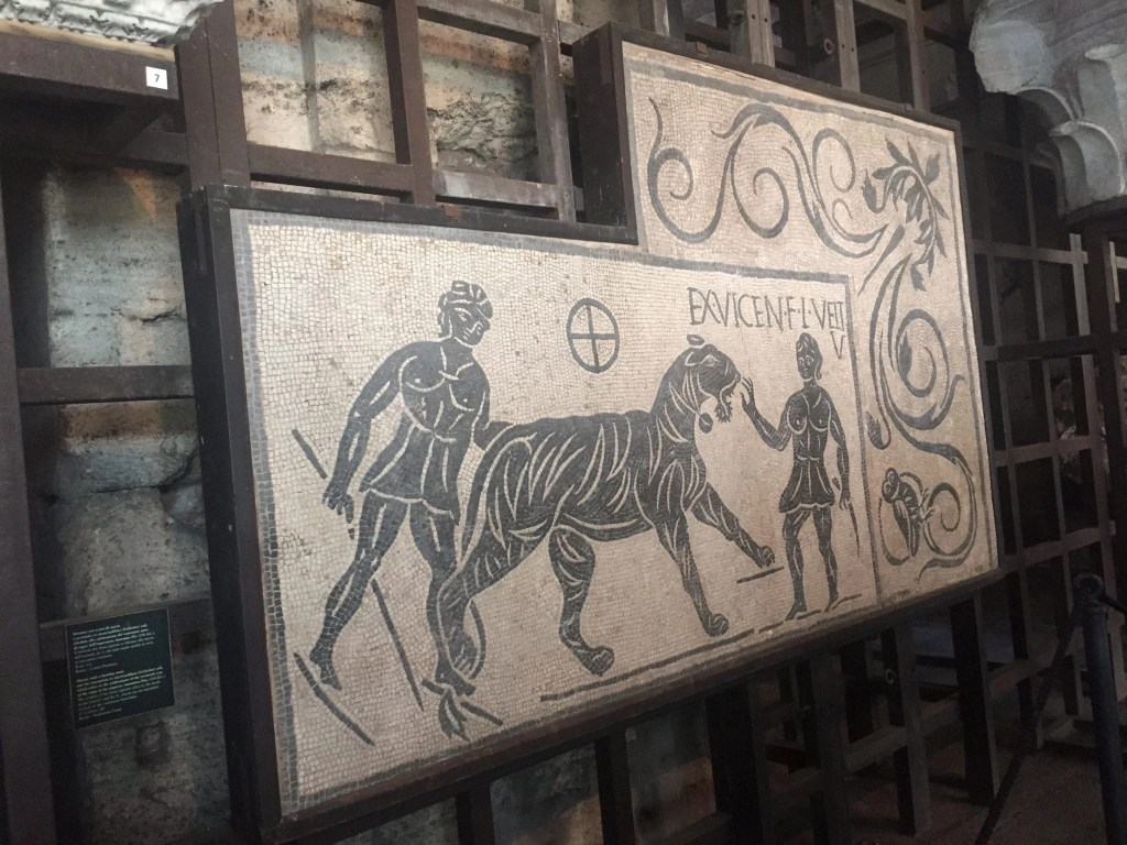 Find art like this mosaic found in the Colosseum when you travel to Rome with Kids | Global Munchkins