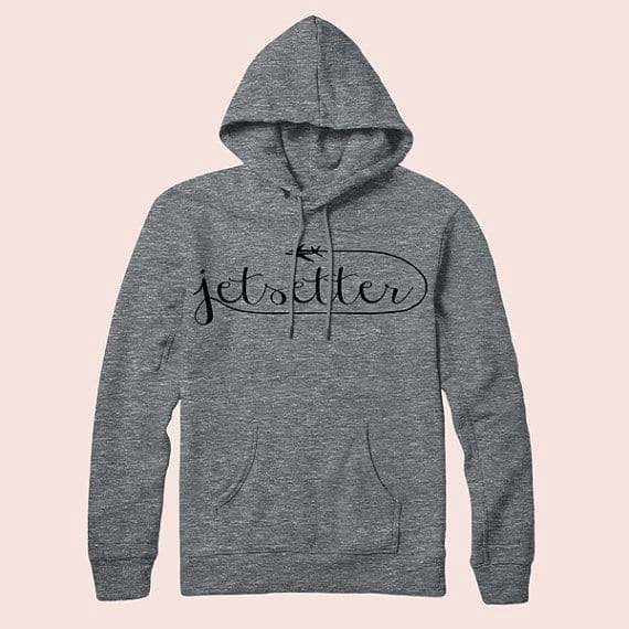 Etsy has super cute customizable gifts for travelers. Like this Jetsetter sweatshirt. Find even more unique gifts for travelers by clicking through to the post.
