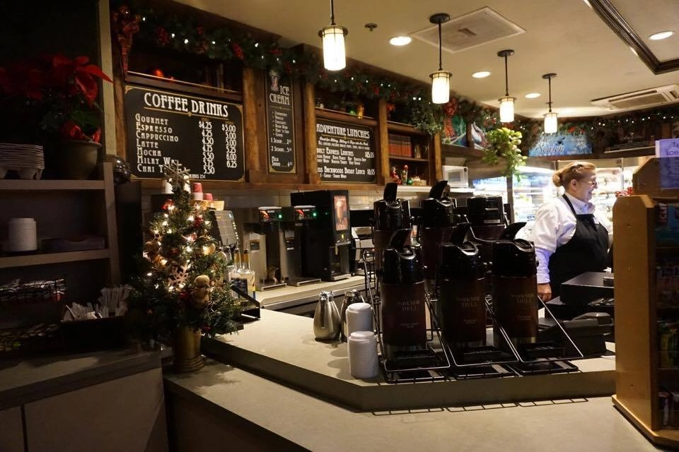 Get your morning coffee in the lobby at Tenaya Lodge.