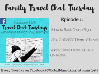 Family Travel Chat LIVE on Facebook- Each week I discuss Family Travel on Facebook LIVE at 10am (pst). In episode 1 we chatted about how to book cheap air, the cheapest way to travel that everyone can do and I shared the BEST travel deals I found online in the past 48 hours. You can travel! With Kids in tow too!