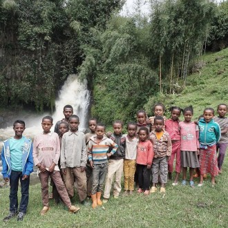 My son with kids from his village in Sidama, Ethiopia