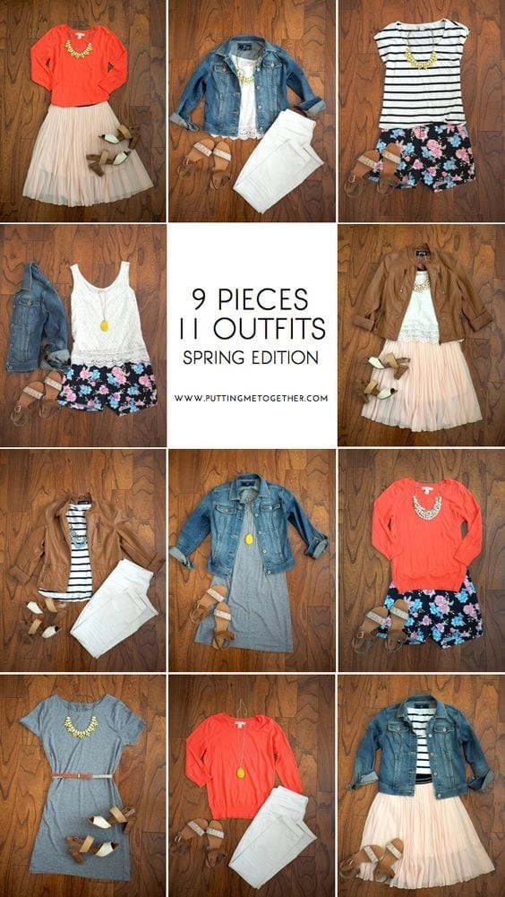 Capsule Packing Spring http://www.puttingmetogether.com/2015/03/9-pieces-11-outfits-spring-2015.html