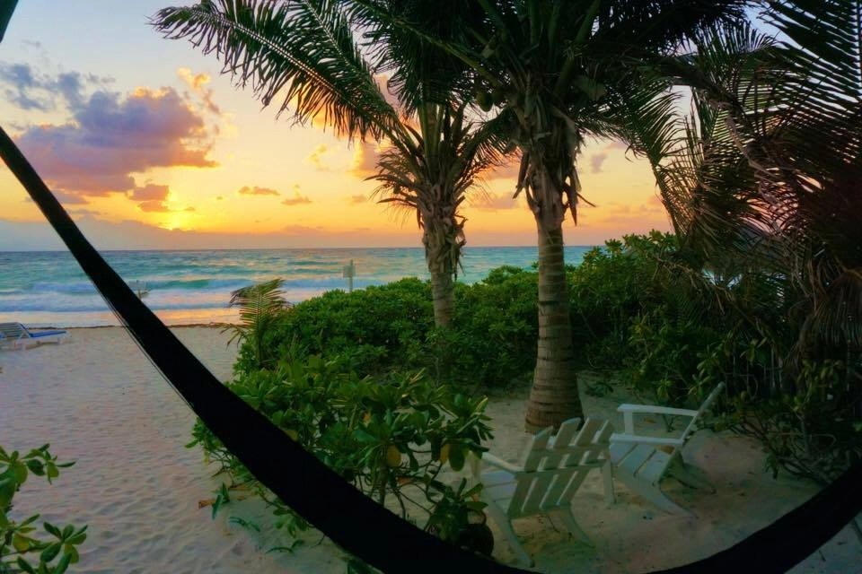 Tulum beaches have the most beautiful sunsets. This is the view from my cabana at Coco Tulum an eco-chic resort in Tulum Mexico
