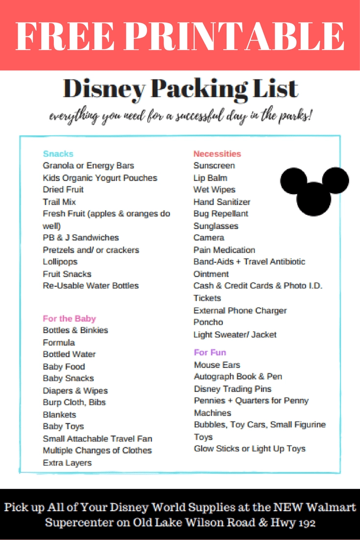 graphic relating to You Re Going to Disney World Printable identified as The Supreme Disney Earth Packing Checklist [Earlier mentioned 75 Should-Pack