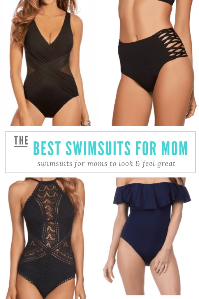 The best swimsuits for moms. Find the perfect suit for every shape so that you can look and feel great. Swimsuit advice from a mom of 5 + professional travel writer. #swimsuits #onepieceswimsuit #blackonepiece #swimsuitformoms