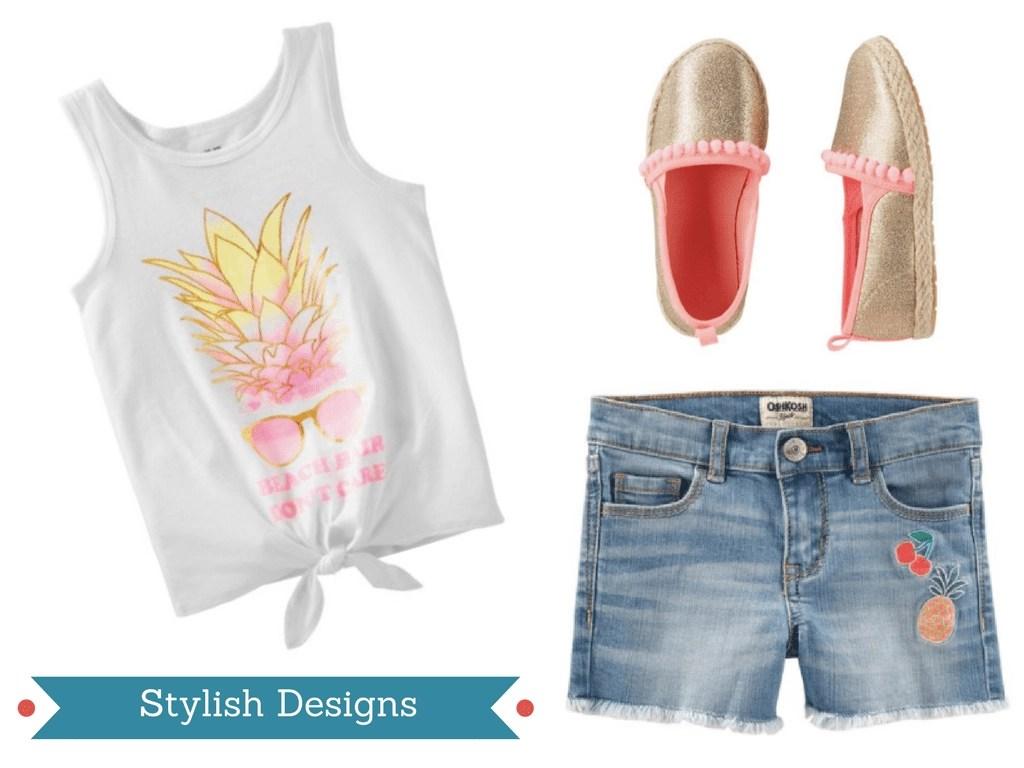 Cute pineapple tank and denim shorts with fun applique designs plus pom pom esparilles from OshKosh.