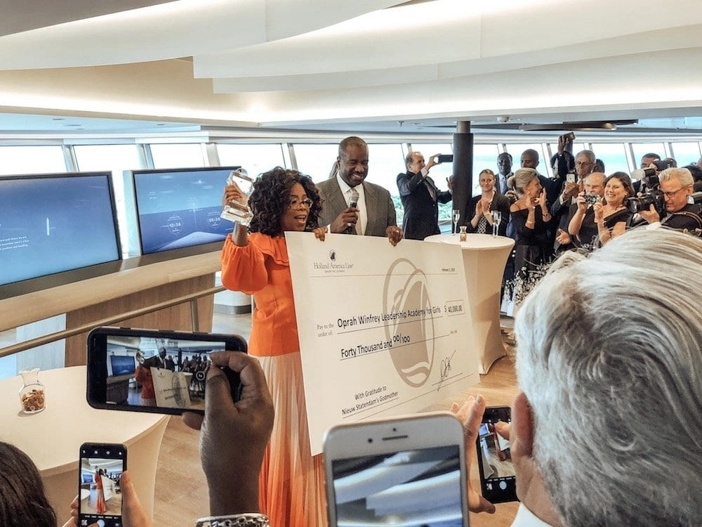 Oprah Receiving Donation from Holland America Line Cruises