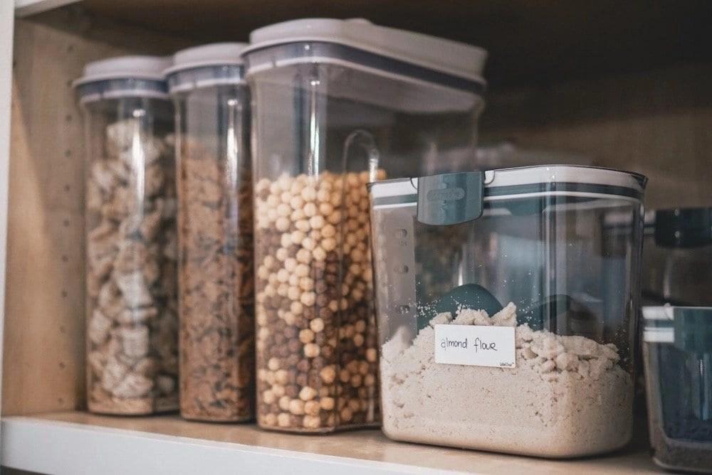 Organized pantry staples. Kitchen organization, white kitchen, custom kitchen, custom cabinetry, pantry organization