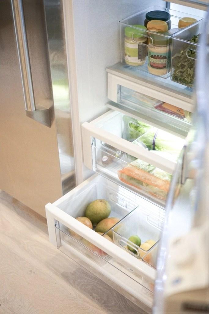 Refrigerator Organization, Kitchen organization, white kitchen, custom kitchen, custom cabinetry, pantry organization