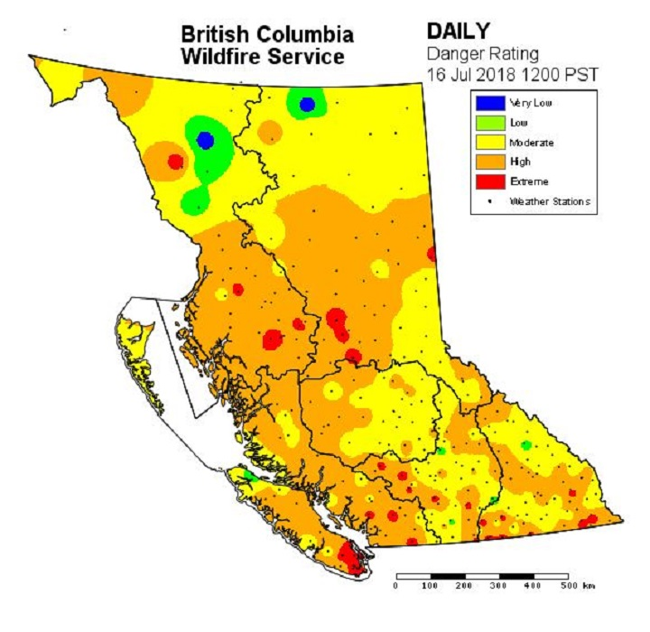 On the bc wildfire website, you can see an interactive map of all 142 active fires, which is currently lit up like a christmas tree. Fire Danger Rating In Okanagan Bordering On Extreme Okanagan Globalnews Ca