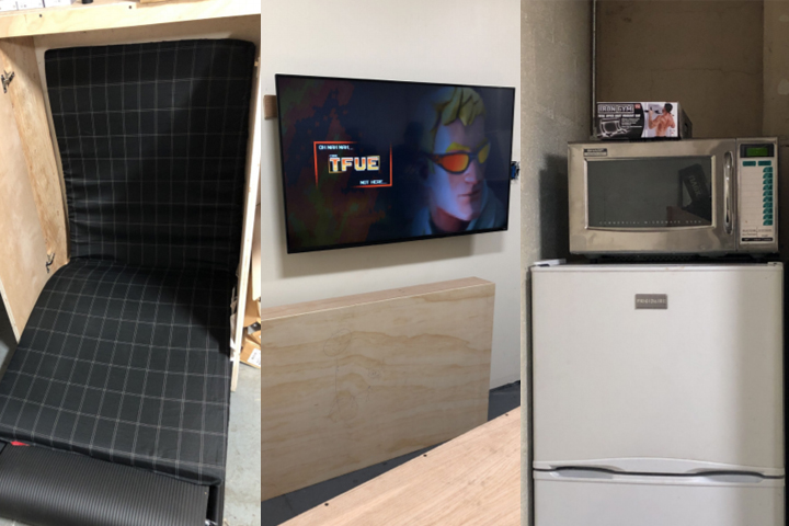 This composite photo shows a hidden cot, a wall-mounted TV and a fridge and microwave concealed inside a secret breakroom under Grand Central Terminal in New York City on Aug. 8, 2019.