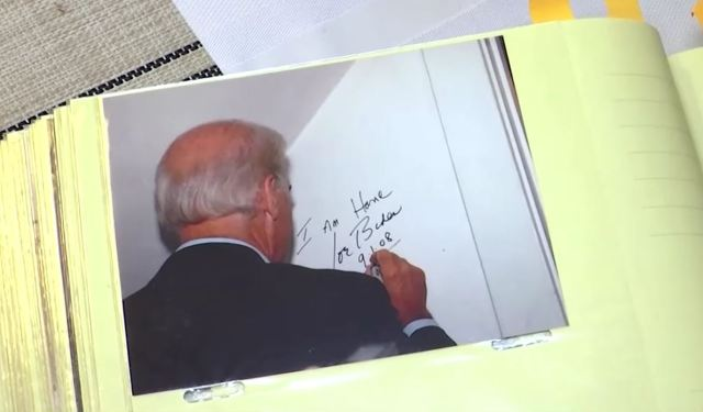 """On a visit in 2008, the Kearns asked Biden to sign the wall in the bedroom. He wrote, """"I am home, Joe Biden, 9-1-08""""."""