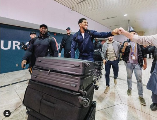 Anthony Joshua touches down in Saudi Arabia ahead of his rematch with Andy Ruiz Jr (Photo)