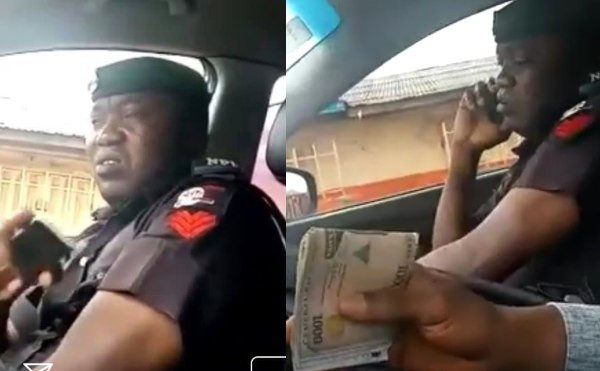 Bribe-taking policeman spotted lies about the amount collected from a motorist (video)