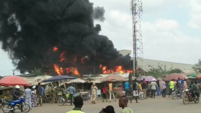 BREAKING: Fire outbreak at Dangote Agro sack factory (Video)