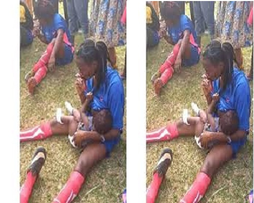 Viral Photo Of Nigeria Female Footballer Breast Feeding Her Baby on The Pitch at Half Time