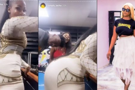 Tacha Causes Commotion As She Twerks Vigorously At Cool FM In Portharcourt (Video)