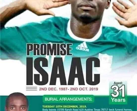 Funeral arrangement of Super Eagles Isaac Promise revealed