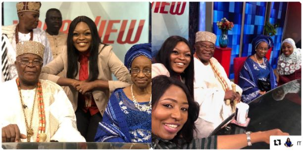 Morayo and Co-presenters welcome Oba Gbadebo Aremu Alake of Egbaland and his wife on TVC morning program 'YourView' (Photos)