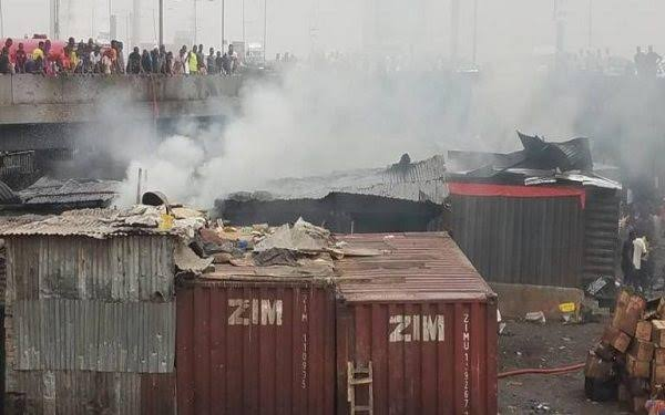 Happening Now: Fire Outbreak at Popular Apongbon Market, at the Ebute Lagos