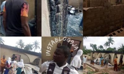 A housewife allegedly sets ablaze her husband's six-bedroom apartment worth N3 million for married new wife in Osun State (photos)