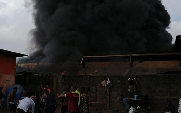 BREAKING: Fire guts polythene company in Lagos