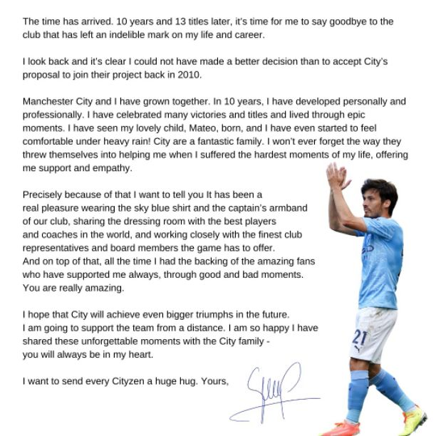 David Silva goodbye message