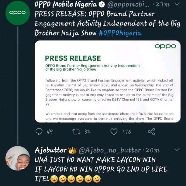 BBNaija 2020: Fans Blast OPPO Mobile Over Press Release (Screenshot)