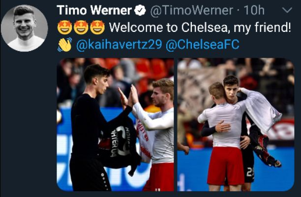Chelsea and German forward Timo Werner has welcome their new signing Kai Havertz to the club after the official announcement yesterday.