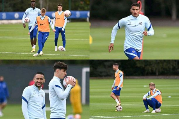 See pictures of Werner, Ziyech, Havertz, Silva, Pulisic in training at Cobham ahead West Brom vs Chelsea tie
