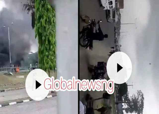 BREAKING: Hoodlums attack Ajah residents burning down buildings and Vehicle in Lagos