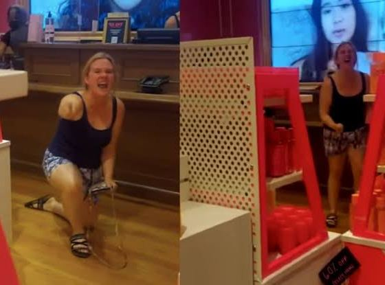 Karen full video: Abigail Elphick chase Nigerian lady, Ijeoma in New Jersey Victoria's Secret store