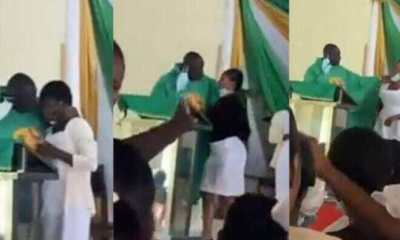 Viral video of Rev. Father Balthazzr Obeng Larbi who kissed 3 female students during Sunday Mass Service