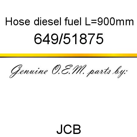 649/51875 Hose, diesel fuel, L=900mm fit JCB 926 4WD, 940