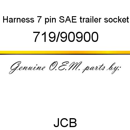 719/90900 Harness, 7 pin SAE, trailer socket fit JCB
