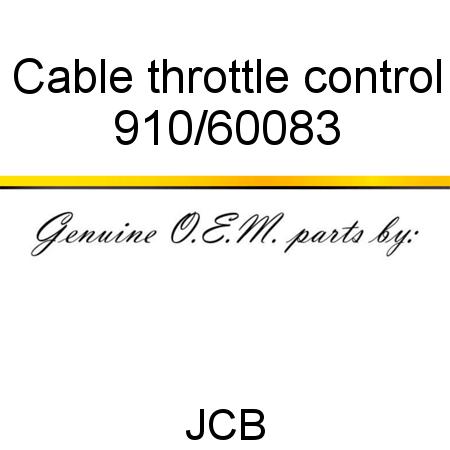 910/60083 Cable, throttle control fit JCB 8080, JZ70