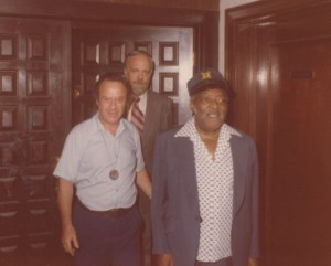 Count Basie on his 75th birthday with Frank V. Szasz and Fred E. Culver.
