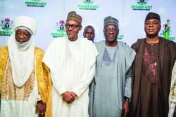 L-R Emir of Ilorin Sulu Gambari, President-elect General Muhammadu Buhari, Governor Abdul Fatai Ahmed and Senator Bukola Saraki after a congratulatory visit of  Kwara State delegation in Abuja on Tuesday, 21 April 2015.