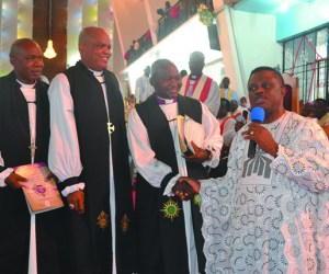 (L-R): Anambra State Governor, Chief Willie Obiano congratulates the three newly ordained Bishops; Bishop of Ijesha North, Venerable Dr. Isaac Iwabi Oluyamo and Bishop of Niger West, Venerable Captain Johnson Nwaohalama Ekwe, Bishop of Gwagwalada, Venerable Moses Bukpe-Tabwaye after their Consecration at All Saints Cathedral Onitsha on Sunday…